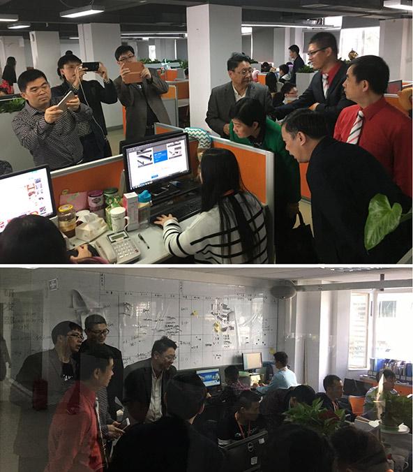陈翼明副市长和贺州市政府考察团在龙8国际pt老虎项目制作部、产品研发部调研