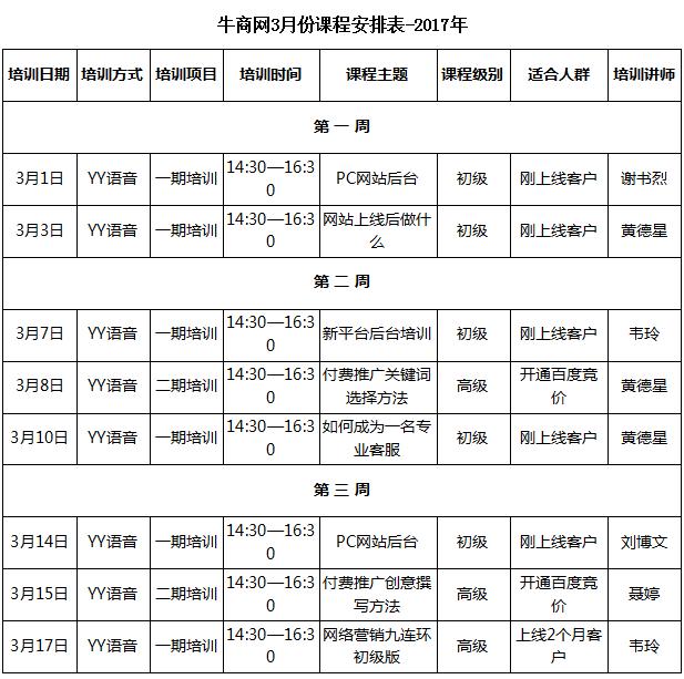 送彩金的娱乐网站2017年3月份课程安排表