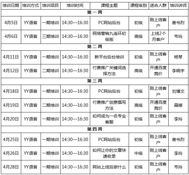 龙8国际pt老虎4月份课程安排表