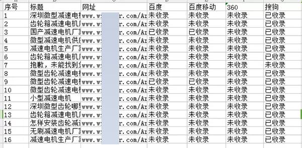 收录结果数据报表